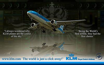 Civil Aviation Digital Art - Klm Triple Seven by Peter Van Stigt