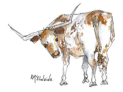 Kmcelwaine Logo Longhorn, Ollie, Texas Longhorn Art Print,watercolor Cow Painting, Whimsical, Original by Kathleen McElwaine