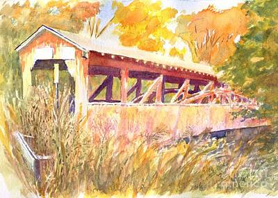 Trussed Painting - Knapp's Covered Bridge  by Robert Haeussler