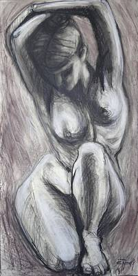 Frontal Nude Painting - Kneeling 3 -  Female Nude-cropped by Carmen Tyrrell