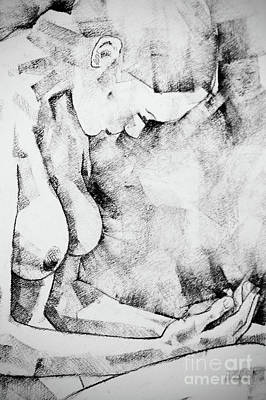 Drawing - Kneeling Figure Pose Drawing by Dimitar Hristov
