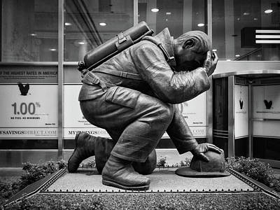 Photograph - Kneeling Fireman 911 Memorial by Megan Crandlemire