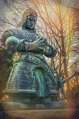 Photograph - Kneeling Knight Zentralfriedhof Vienna Austria  by Carol Japp