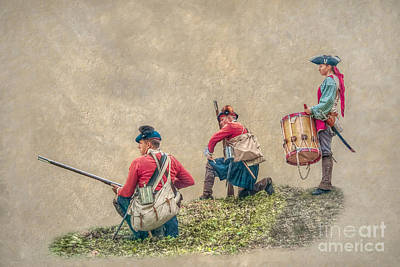 Kneeling Soldiers And Drummer Art Print