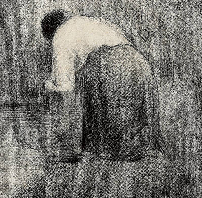 Kneeling Woman Art Print by Georges Pierre Seurat