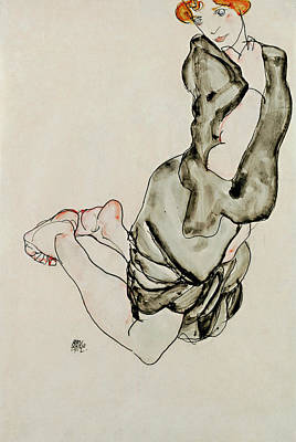 Top With Oil Painting - Kneeling Woman With A Gray Cape Wally Neuzil 1912 by Egon Schiele