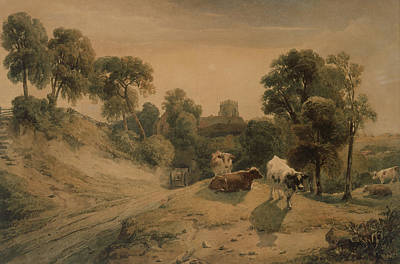 Cow Drawing - Kneeton On The Hill by Peter de Wint