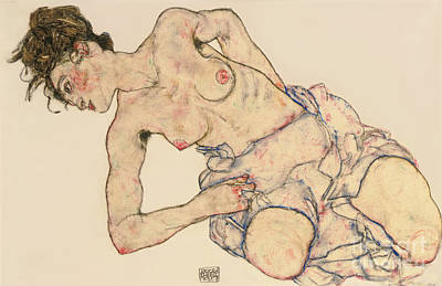 Female Nude Drawing - Kneider Weiblicher Halbakt by Egon Schiele