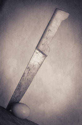 White Photograph - Knife And Egg  Black And White by Robert Brown