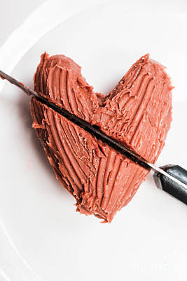 Food And Beverage Royalty-Free and Rights-Managed Images - Knife Cutting Heart Shape Chocolate On Plate by Jorgo Photography - Wall Art Gallery