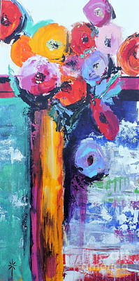 Painting - Knife Painted Bouquet by Jodie Marie Anne Richardson Traugott          aka jm-ART