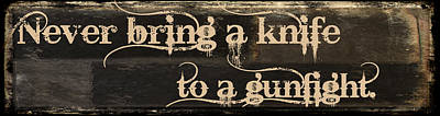 Beer Royalty-Free and Rights-Managed Images - Knife to a Gunfight Mancave by Mindy Sommers