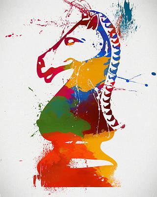 Knight Chess Piece Paint Splatter Art Print by Dan Sproul
