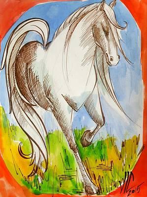 Painting -  Knight.white Knight.horse .chess Piece. History Of Chess Map. by Vali Irina Ciobanu