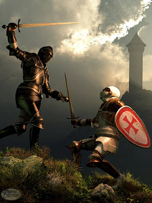 Fantasy Digital Art - Knight Fight by Daniel Eskridge