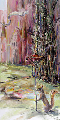 Knight Light Oil Painting Castle And Squirrel Original by Kim Guthrie