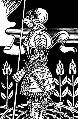Knight Drawing - Knight Of Arthur, Preparing To Go Into Battle by Aubrey Beardsley