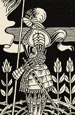 Knight Drawing - Knight Of Arthur, Preparing To Go Into Battle, Illustration From Le Morte D'arthur By Thomas Malory by Aubrey Beardsley
