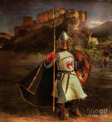 Templar Painting - Knight Of The Grail By Sarah Kirk by Sarah Kirk