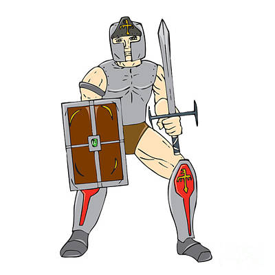 Sword Cartoon Digital Art - Knight Wielding Sword And Shield Cartoon by Aloysius Patrimonio
