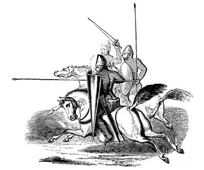 Pen And Ink Drawing Drawing - Knights And Men At Arms In The Reign Of Louis Le Gros by French School