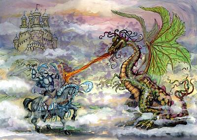 Fantasy Wall Art - Painting - Knights N Dragons by Kevin Middleton