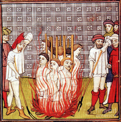 Medieval Temple Photograph - Knights Templar Burned At Stake, 1307 by Science Source