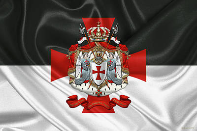 Digital Art - Knights Templar - Coat Of Arms Over Flag by Serge Averbukh
