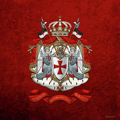 Digital Art - Knights Templar - Coat Of Arms Over Red Velvet by Serge Averbukh