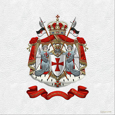 Digital Art - Knights Templar - Coat Of Arms Over White Leather by Serge Averbukh