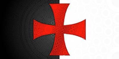 Knight Digital Art - Knights Templar Flag Update. by Mary Bassett
