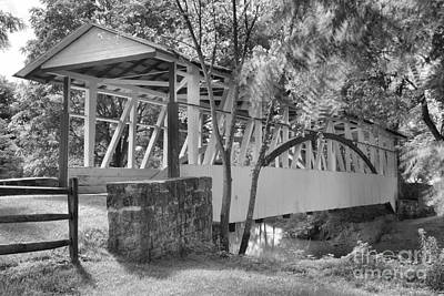 Photograph - Knisley Covered Bridge Black And White by Adam Jewell
