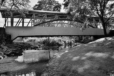Photograph - Knisley Covered Bridge Black And White by Lisa Wooten