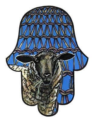 Judaica Drawing - Knit Sheep by Mindy Curran