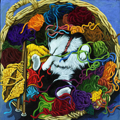 Knitter's Helper - Cat Painting Art Print by Linda Apple