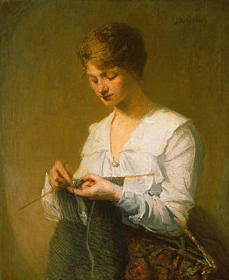 Painting - Knitting For Soldiers by Julian Alden Weir