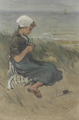 Knitting Girl On A Dune Print by Bernard Blommers