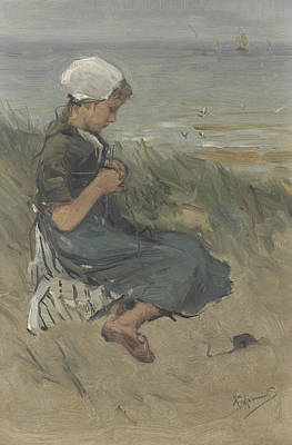 Knitting Painting - Knitting Girl On A Dune by Bernard Blommers