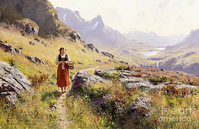 Heather Painting - Knitting In A Norwegian Landscape by Hans Dahl