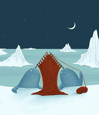 Digital Art - Knitting Narwhals by Michael Ciccotello