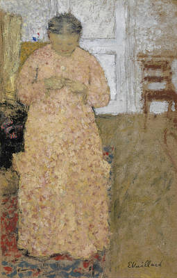 Post-impressionism Painting - Knitting Woman In Pink Dress by Edouard Vuillard