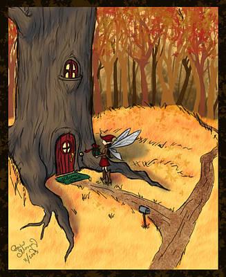 Fey Drawing - Knock Knock by Rachel Marquez