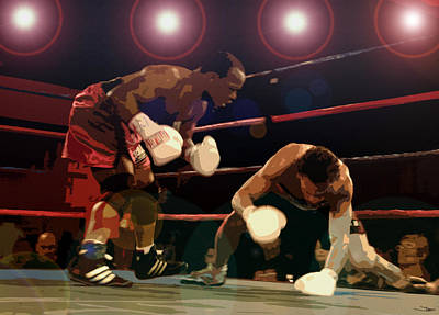 Boxing Digital Art - Knockdown by David Lee Thompson