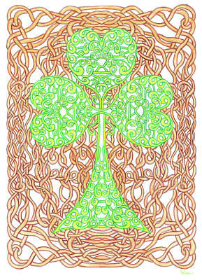 Drawing - Knotted Shamrock With Knotted Background by Lise Winne