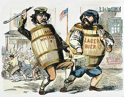 Barrel Painting - Know-nothing Cartoon by Granger