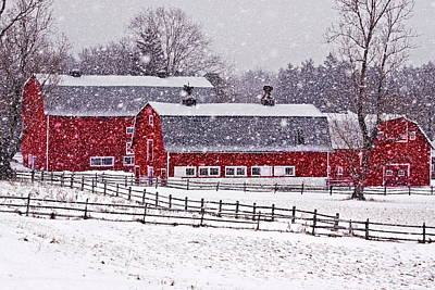 Barn Red Photograph - Knox Farm Snowfall by Don Nieman