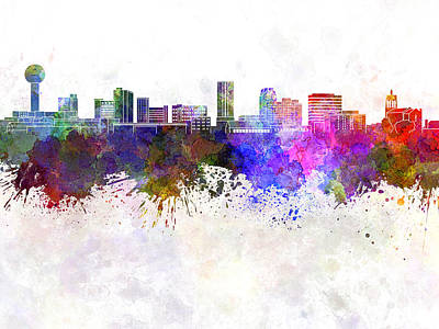 Knoxville Skyline In Watercolor Background Print by Pablo Romero