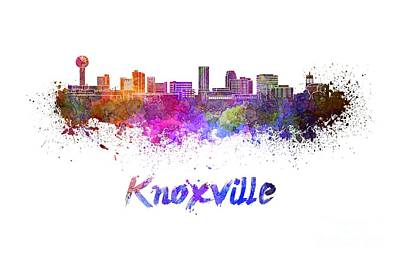 Knoxville Skyline In Watercolor Print by Pablo Romero