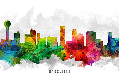 Knoxville Painting - Knoxville Tennessee Cityscape 12 by Aged Pixel