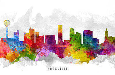 Knoxville Painting - Knoxville Tennessee Cityscape 13 by Aged Pixel